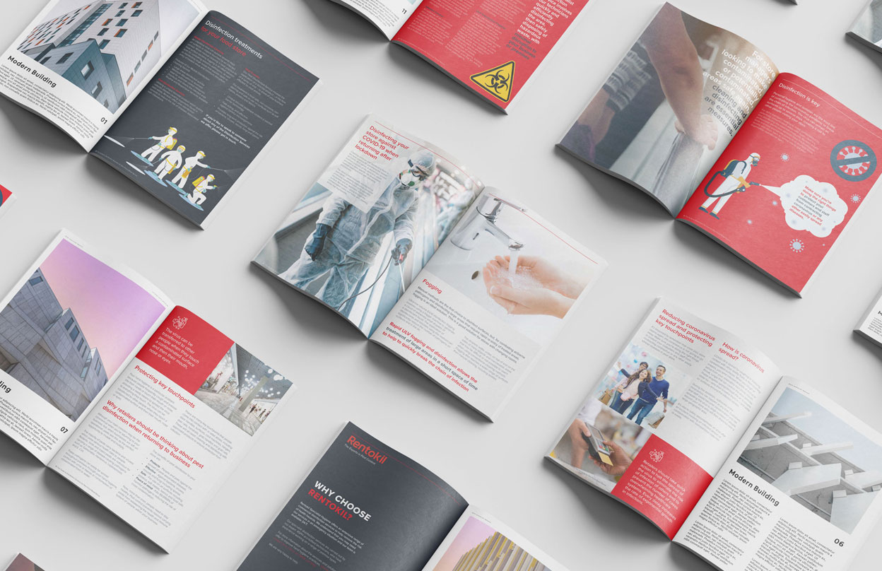 Examples of Brochures design service for rentokil